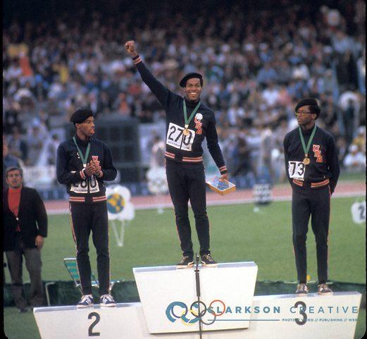 Lee Evans, Larry James et Ron Freeman - Jeux Olympiques de Mexico de 1968 - Crédit Photo : Rich Clarkson