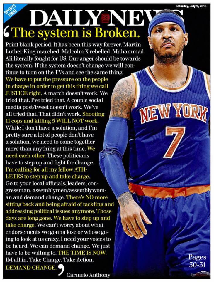 Carmelo Anthony demands Change in the New York Daily News - July 9, 2016