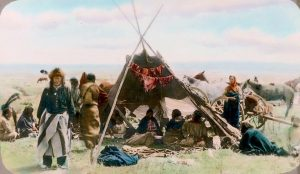 Open tipi. Blackfeet. Montana. Early 1900s. Glass lantern slide by Walter McClintock. Source - Yale Collection of Western Americana, Beinecke Rare Book and Manuscript Library.