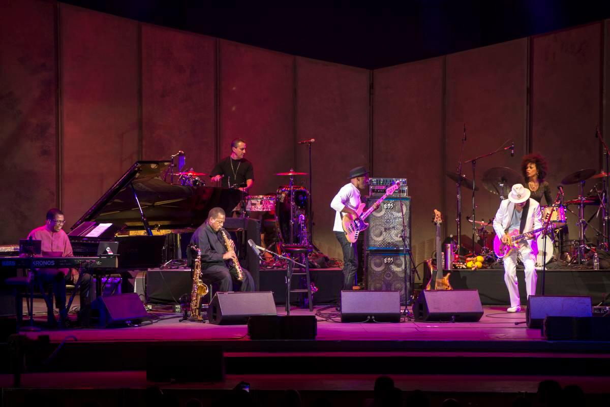 Super Nova, a super group consisting of Carlos Santana, Herbie Hancock, Wayne Shorter, Cindy Blackman Santana, and Marcus Miller performs at the Hollywood Bowl in Los Angeles, CA on Wednesday, August 24 2016. (Photo by Matt Masin, SCNG)